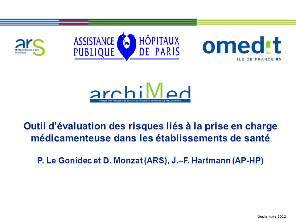 Outil dévaluation des risques liés à la prise en charge médicamenteuse dans les établissements de santé P. Le Gonidec et D. Monzat (ARS), J.–F. Hartma