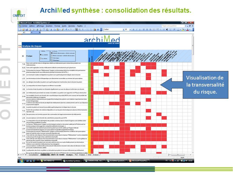 O M E D I T ArchiMed synthèse : consolidation des résultats. Visualisation de la transversalité du risque.