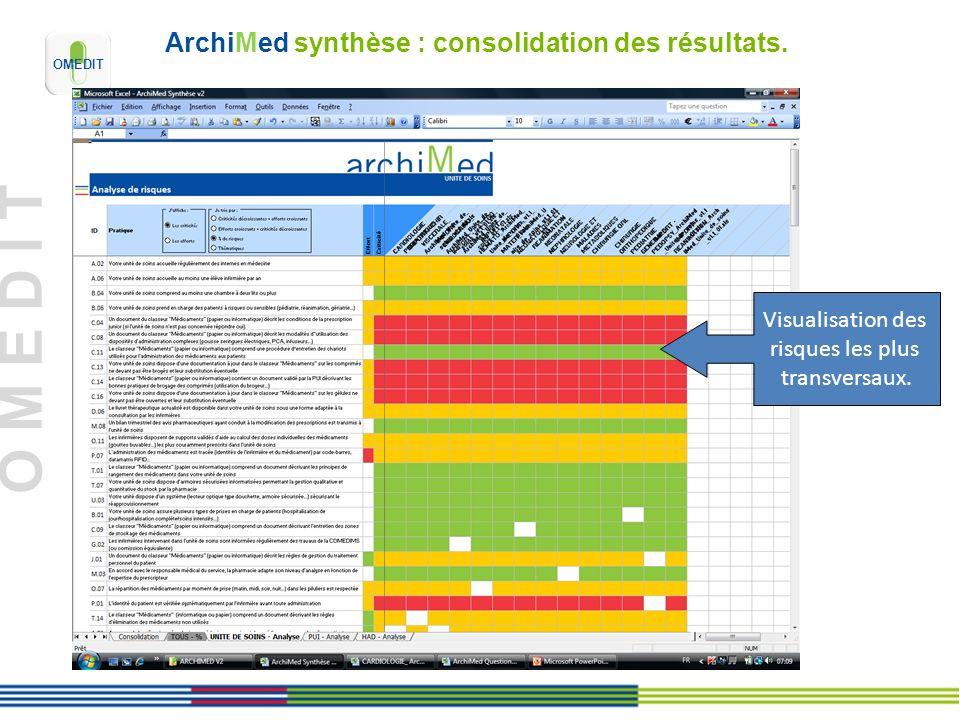 O M E D I T ArchiMed synthèse : consolidation des résultats. Visualisation des risques les plus transversaux.