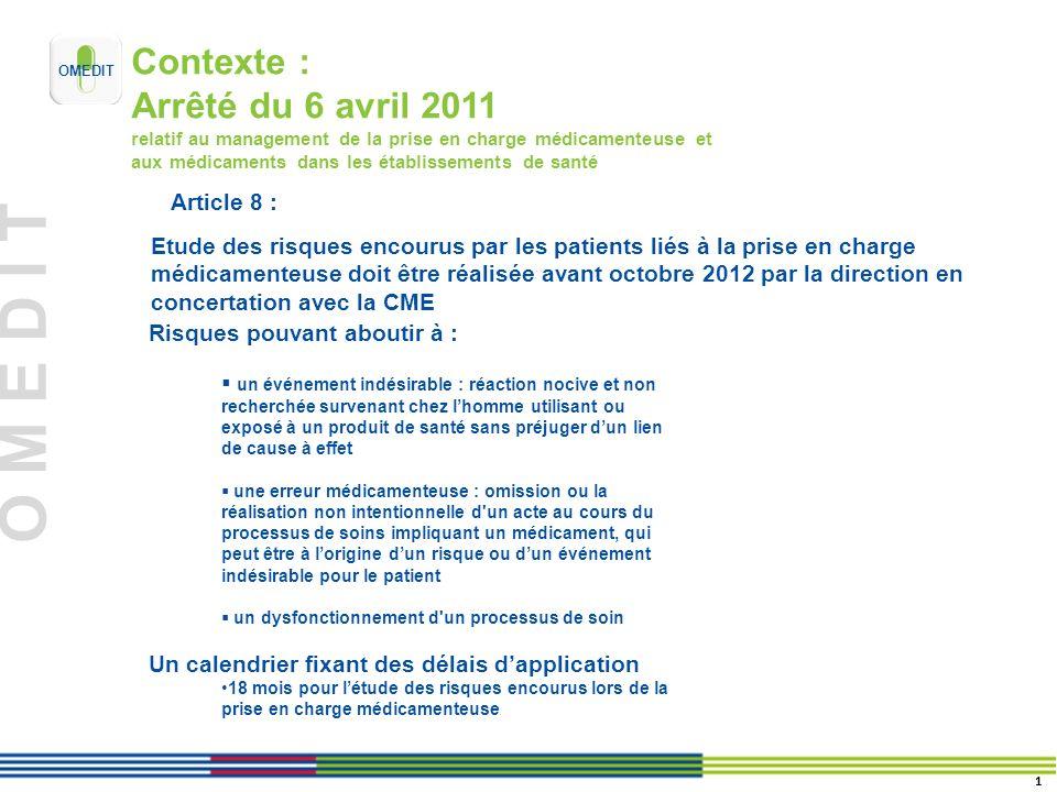 O M E D I T Contexte : Arrêté du 6 avril 2011 relatif au management de la prise en charge médicamenteuse et aux médicaments dans les établissements de
