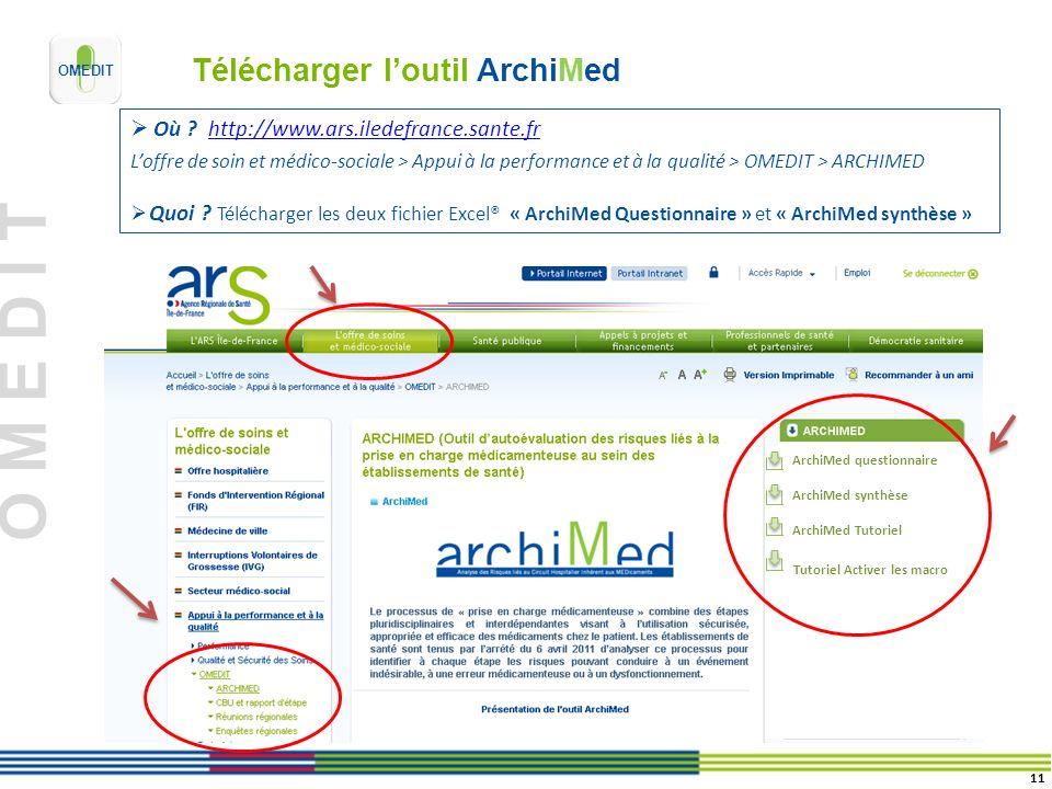 O M E D I T Télécharger loutil ArchiMed Où ? http://www.ars.iledefrance.sante.frhttp://www.ars.iledefrance.sante.fr Loffre de soin et médico-sociale >