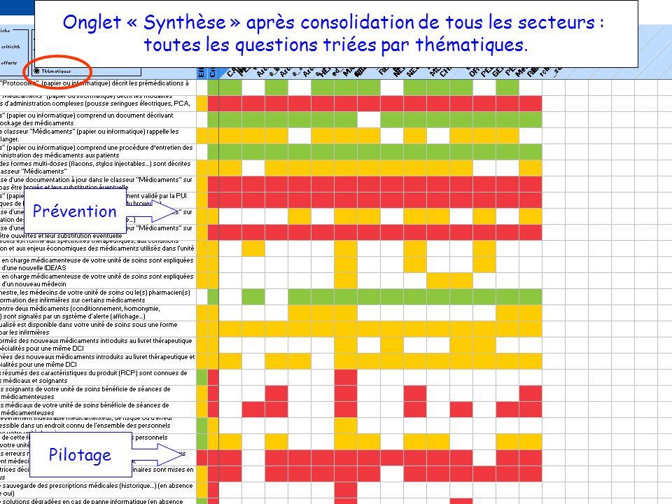25 OCT 2012ARCHIMED & GDR PECM13 Onglet « Synthèse » après consolidation de tous les secteurs : toutes les questions triées par thématiques. Préventio