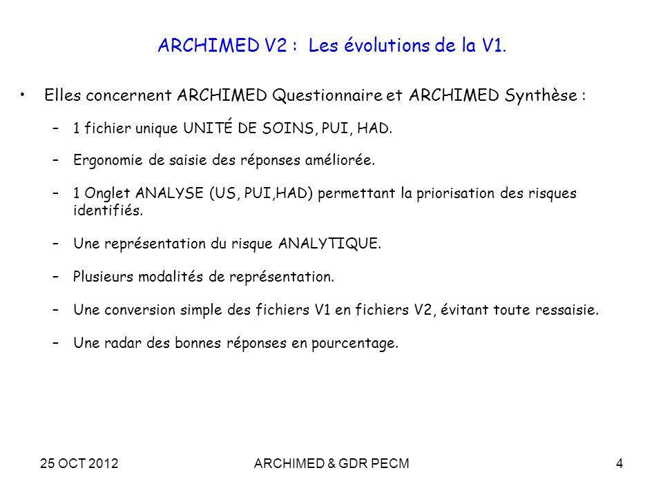 25 OCT 2012ARCHIMED & GDR PECM4 ARCHIMED V2 : Les évolutions de la V1. Elles concernent ARCHIMED Questionnaire et ARCHIMED Synthèse : –1 fichier uniqu