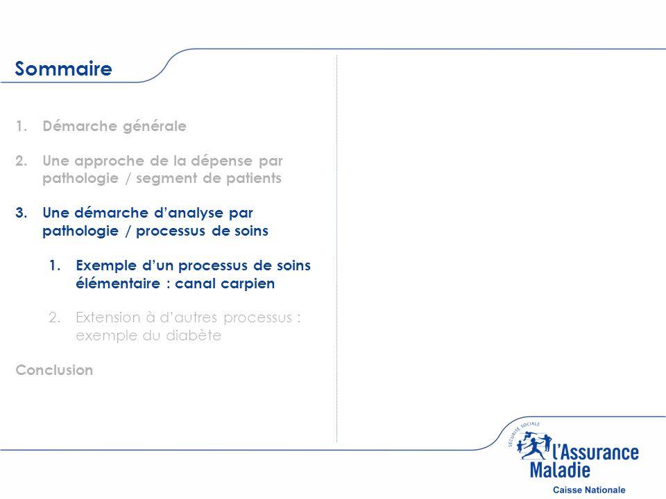 Sommaire 1. 1.Démarche générale 2. 2.Une approche de la dépense par pathologie / segment de patients 3. 3.Une démarche danalyse par pathologie / proce