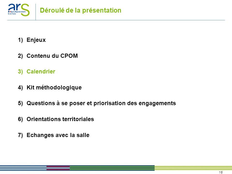 16 Déroulé de la présentation 1)Enjeux 2)Contenu du CPOM 3)Calendrier 4)Kit méthodologique 5)Questions à se poser et priorisation des engagements 6)Or