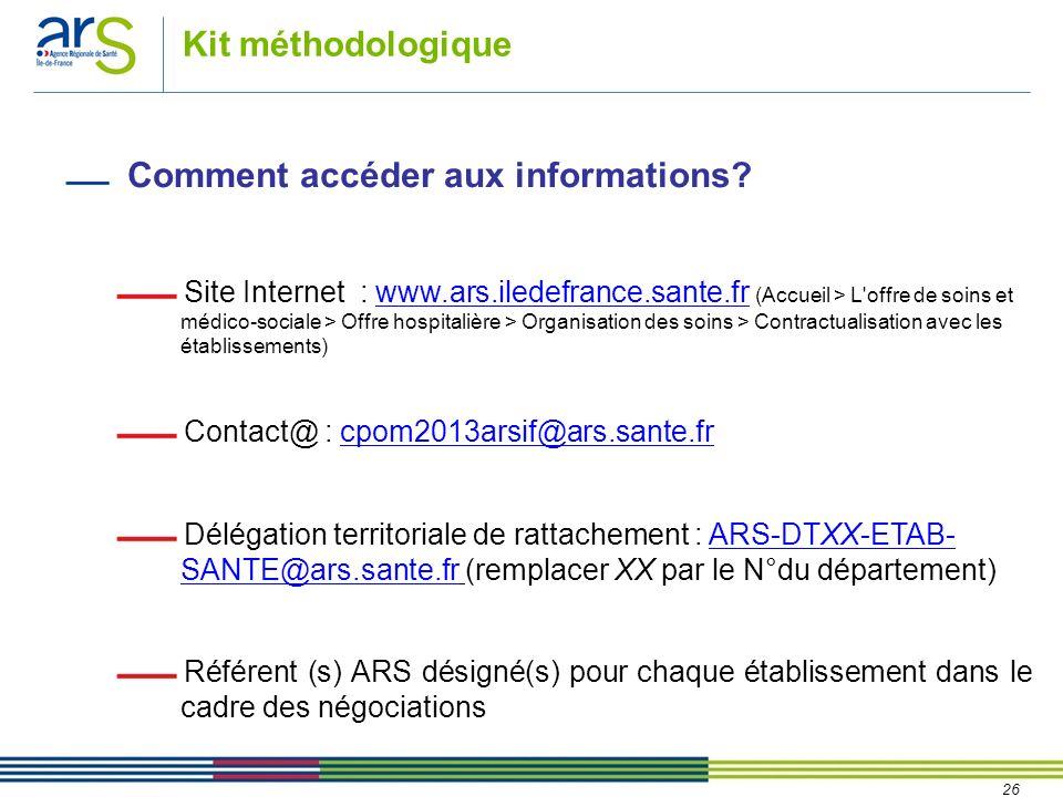 26 Kit méthodologique Comment accéder aux informations? Site Internet : www.ars.iledefrance.sante.fr (Accueil > L'offre de soins et médico-sociale > O