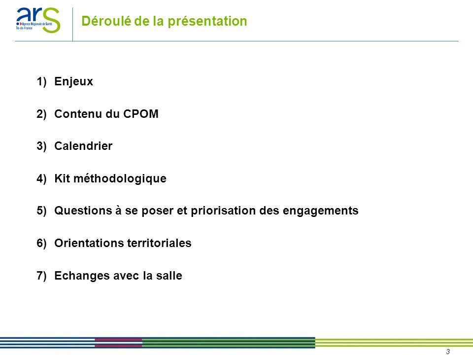 3 Déroulé de la présentation 1)Enjeux 2)Contenu du CPOM 3)Calendrier 4)Kit méthodologique 5)Questions à se poser et priorisation des engagements 6)Ori