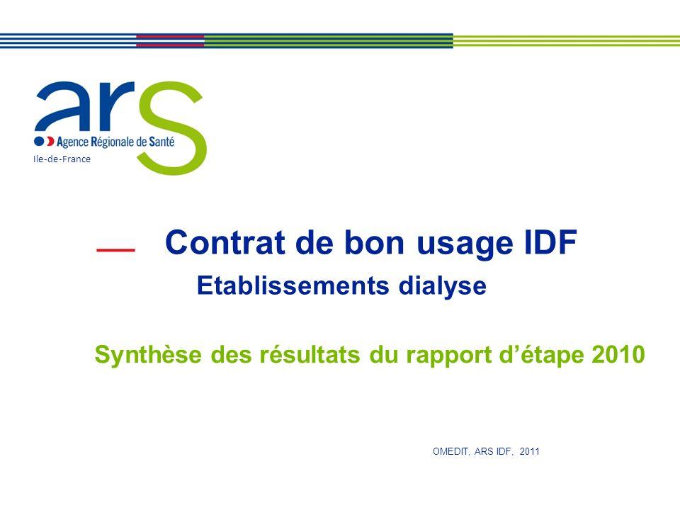 Contrat de bon usage IDF Etablissements dialyse Synthèse des résultats du rapport détape 2010 Ile-de-France OMEDIT, ARS IDF, 2011