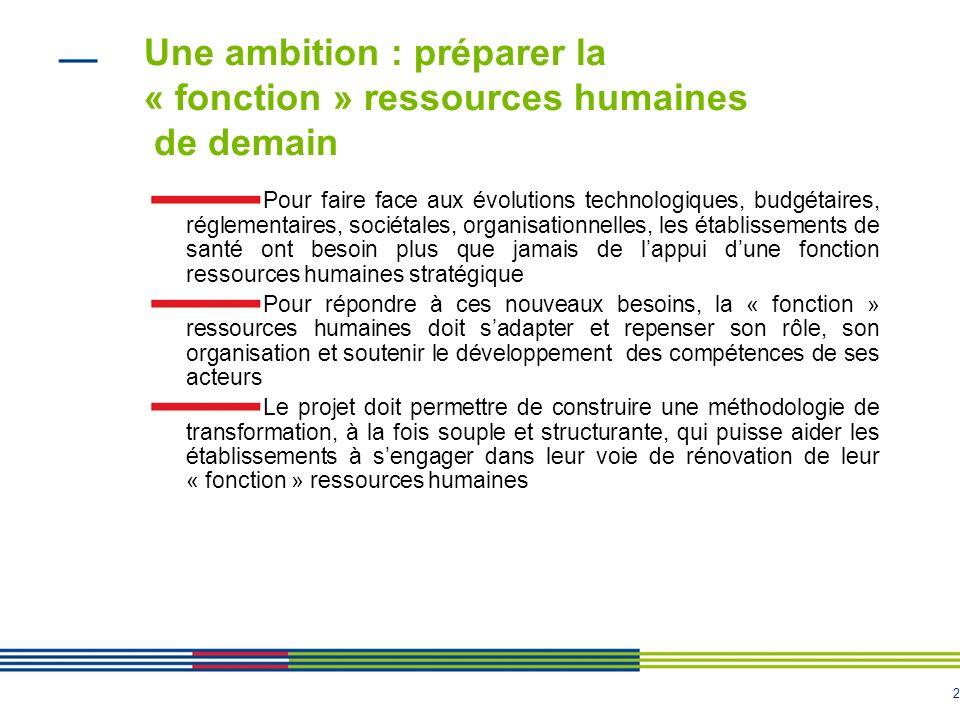 2 Une ambition : préparer la « fonction » ressources humaines de demain Pour faire face aux évolutions technologiques, budgétaires, réglementaires, so