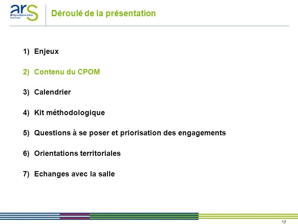 10 Déroulé de la présentation 1)Enjeux 2)Contenu du CPOM 3)Calendrier 4)Kit méthodologique 5)Questions à se poser et priorisation des engagements 6)Or