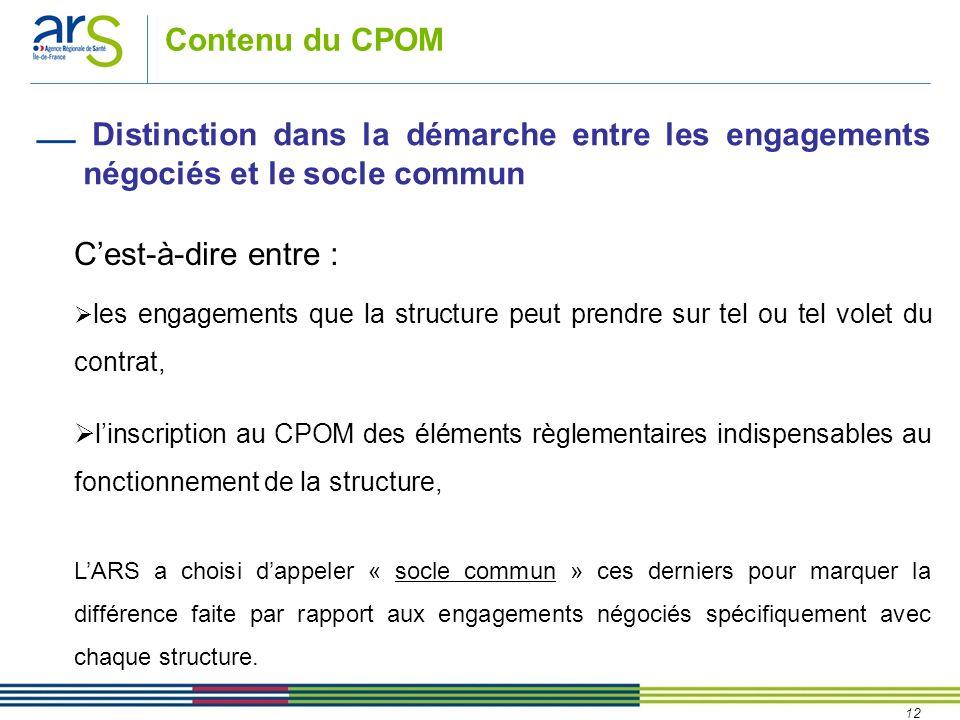 12 Contenu du CPOM Cest-à-dire entre : les engagements que la structure peut prendre sur tel ou tel volet du contrat, linscription au CPOM des élément