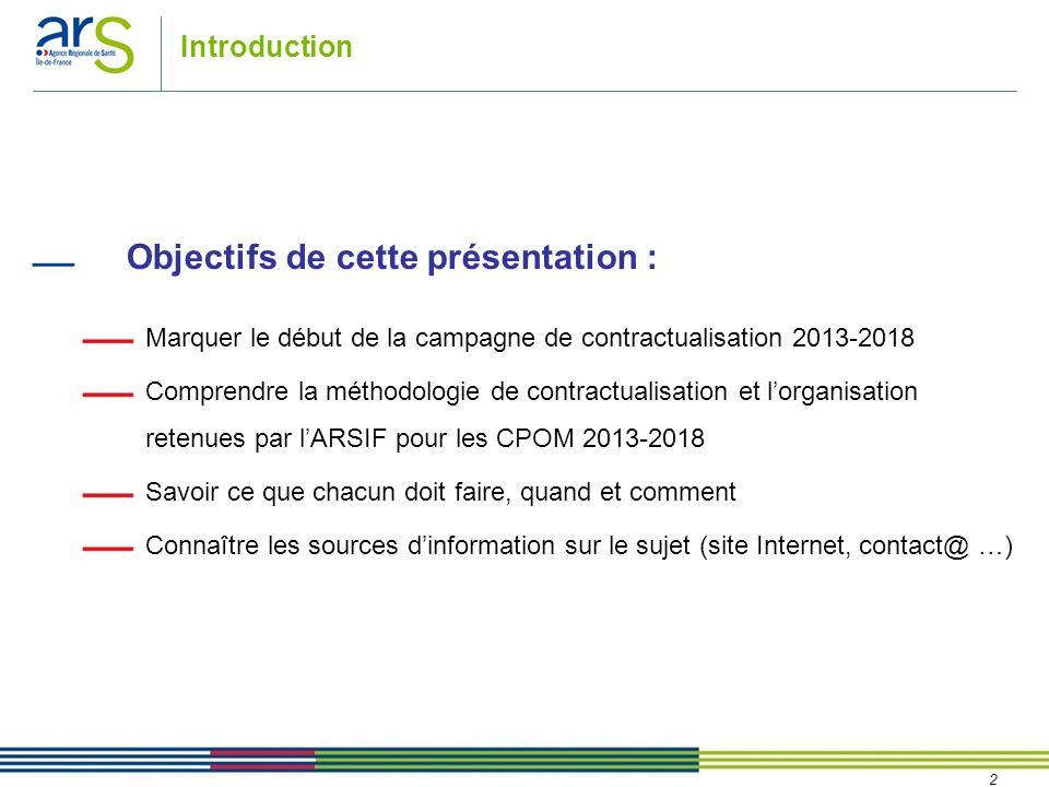 2 Introduction Objectifs de cette présentation : Marquer le début de la campagne de contractualisation 2013-2018 Comprendre la méthodologie de contrac