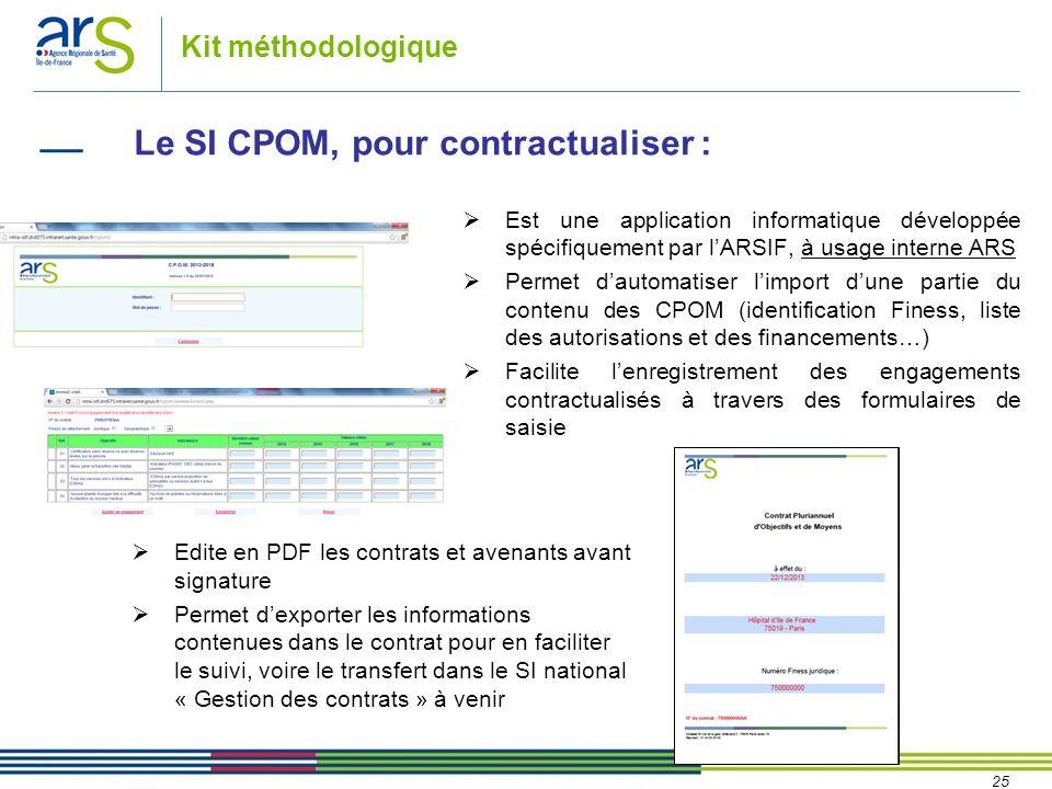 25 Kit méthodologique Le SI CPOM, pour contractualiser : Edite en PDF les contrats et avenants avant signature Permet dexporter les informations conte
