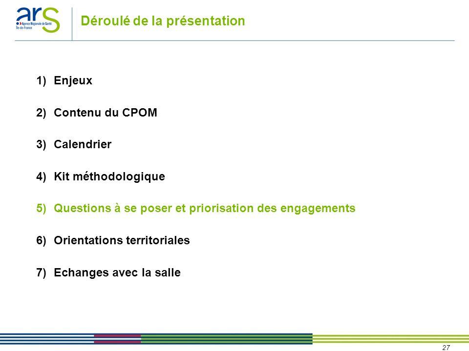 27 Déroulé de la présentation 1)Enjeux 2)Contenu du CPOM 3)Calendrier 4)Kit méthodologique 5)Questions à se poser et priorisation des engagements 6)Or