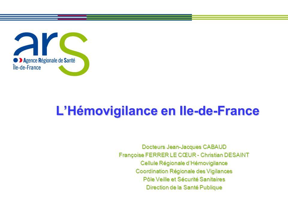 LHémovigilance en Ile-de-France Docteurs Jean-Jacques CABAUD Françoise FERRER LE CŒUR - Christian DESAINT Cellule Régionale dHémovigilance Coordinatio