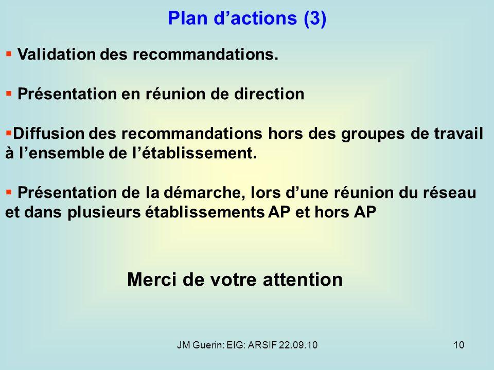 JM Guerin: EIG: ARSIF 22.09.1010 Validation des recommandations. Présentation en réunion de direction Diffusion des recommandations hors des groupes d