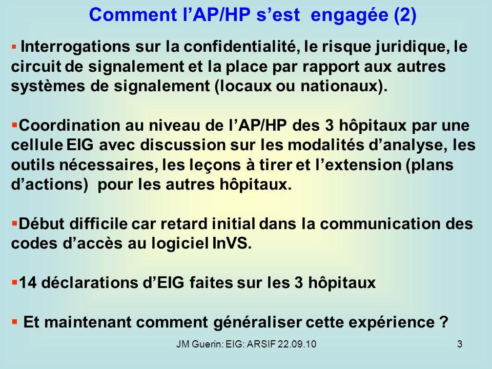 JM Guerin: EIG: ARSIF 22.09.103 Interrogations sur la confidentialité, le risque juridique, le circuit de signalement et la place par rapport aux autr