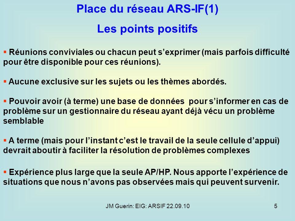 JM Guerin: EIG: ARSIF 22.09.105 Place du réseau ARS-IF(1) Les points positifs Réunions conviviales ou chacun peut sexprimer (mais parfois difficulté p