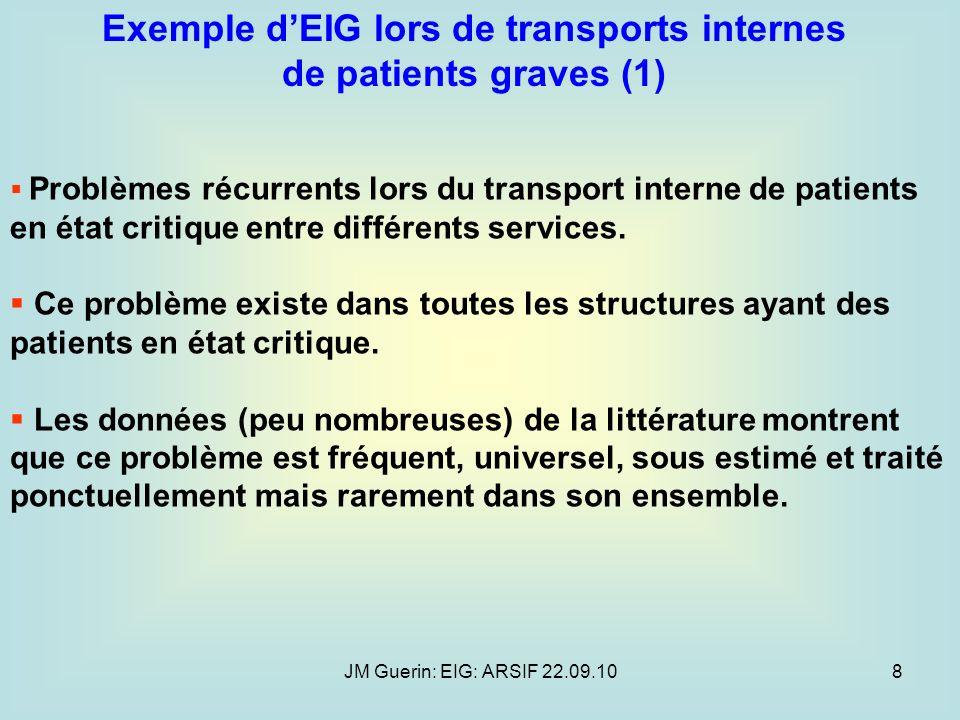 JM Guerin: EIG: ARSIF 22.09.108 Exemple dEIG lors de transports internes de patients graves (1) Problèmes récurrents lors du transport interne de pati