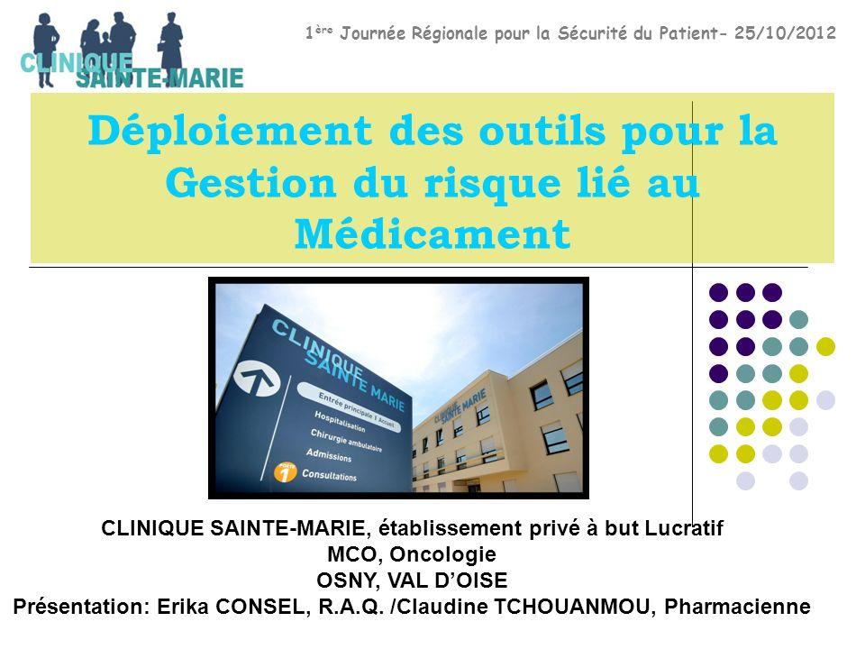 Déploiement des outils pour la Gestion du risque lié au Médicament CLINIQUE SAINTE-MARIE, établissement privé à but Lucratif MCO, Oncologie OSNY, VAL