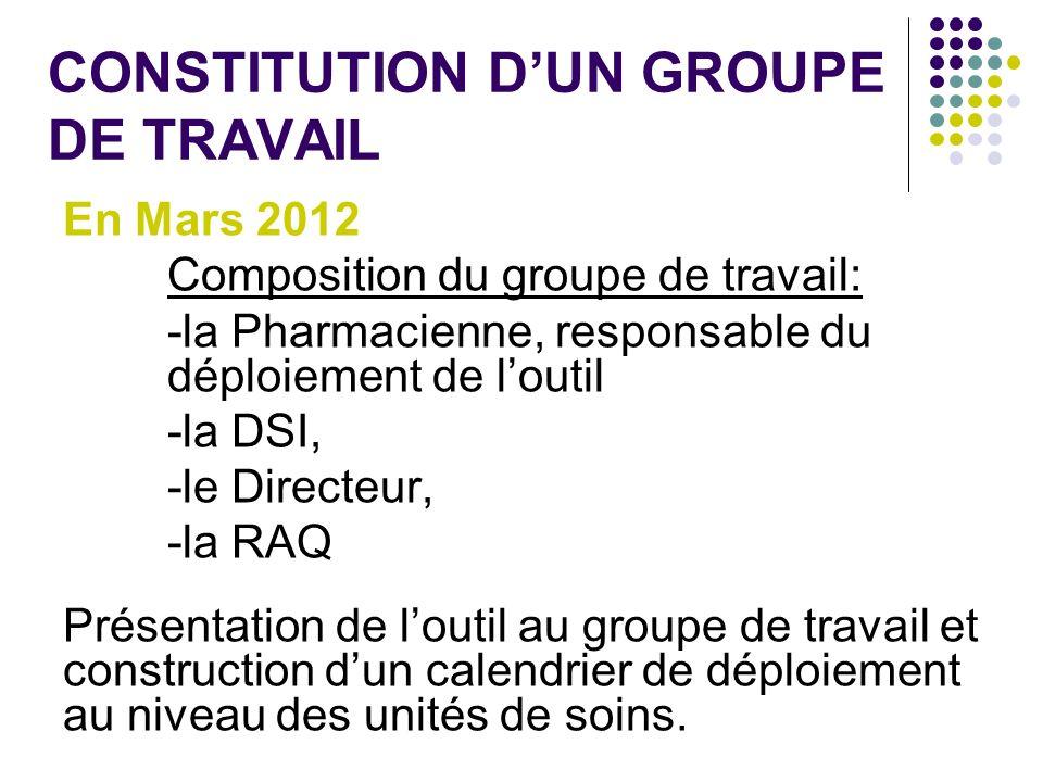 CONSTITUTION DUN GROUPE DE TRAVAIL En Mars 2012 Composition du groupe de travail: -la Pharmacienne, responsable du déploiement de loutil -la DSI, -le