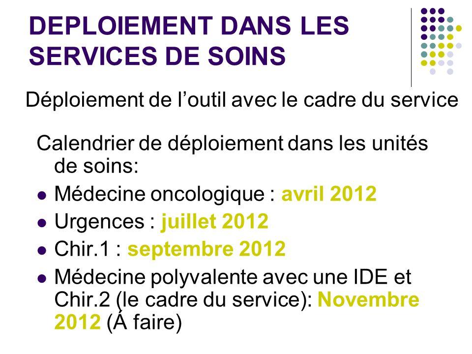DEPLOIEMENT DANS LES SERVICES DE SOINS Calendrier de déploiement dans les unités de soins: Médecine oncologique : avril 2012 Urgences : juillet 2012 C