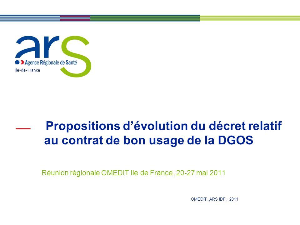 Propositions dévolution du décret relatif au contrat de bon usage de la DGOS Réunion régionale OMEDIT Ile de France, 20-27 mai 2011 Ile-de-France OMEDIT, ARS IDF, 2011