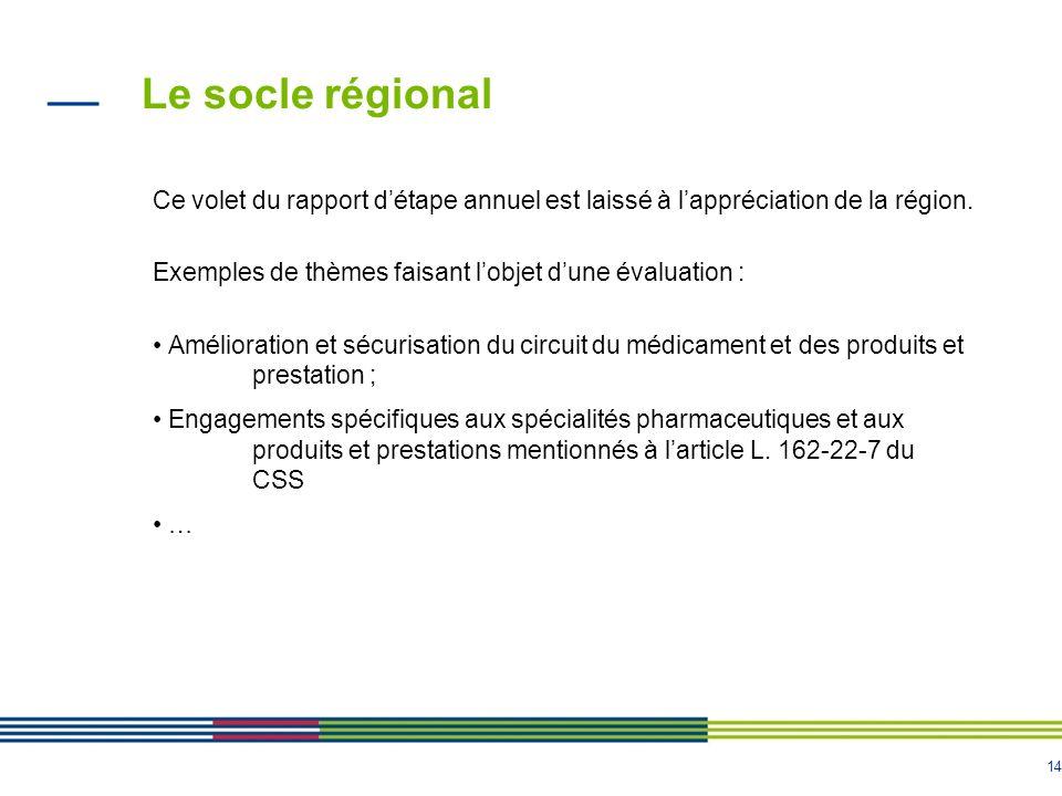 14 Le socle régional Ce volet du rapport détape annuel est laissé à lappréciation de la région.