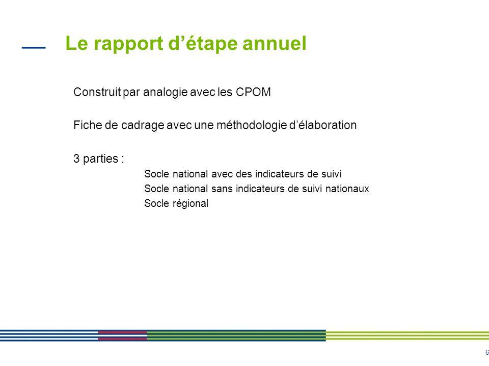 6 Le rapport détape annuel Construit par analogie avec les CPOM Fiche de cadrage avec une méthodologie délaboration 3 parties : Socle national avec des indicateurs de suivi Socle national sans indicateurs de suivi nationaux Socle régional
