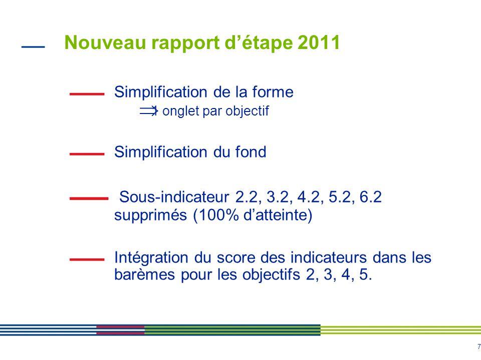 7 Nouveau rapport détape 2011 Simplification de la forme 1 onglet par objectif Simplification du fond Sous-indicateur 2.2, 3.2, 4.2, 5.2, 6.2 supprimés (100% datteinte) Intégration du score des indicateurs dans les barèmes pour les objectifs 2, 3, 4, 5.