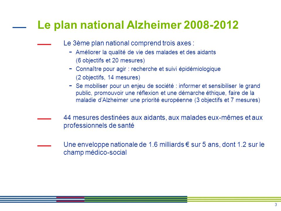 3 Le plan national Alzheimer 2008-2012 Le 3ème plan national comprend trois axes : - Améliorer la qualité de vie des malades et des aidants (6 objectifs et 20 mesures) - Connaître pour agir : recherche et suivi épidémiologique (2 objectifs, 14 mesures) - Se mobiliser pour un enjeu de société : informer et sensibiliser le grand public, promouvoir une réflexion et une démarche éthique, faire de la maladie dAlzheimer une priorité européenne (3 objectifs et 7 mesures) 44 mesures destinées aux aidants, aux malades eux-mêmes et aux professionnels de santé Une enveloppe nationale de 1.6 milliards sur 5 ans, dont 1.2 sur le champ médico-social
