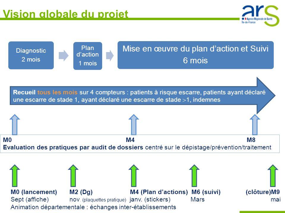 Vision globale du projet Diagnostic 2 mois Plan daction 1 mois Mise en œuvre du plan daction et Suivi 6 mois Recueil en continu : Taux dincidence mens