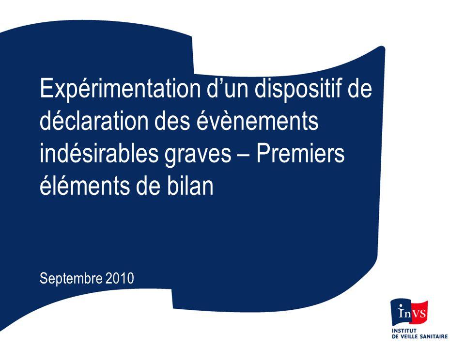 Expérimentation dun dispositif de déclaration des évènements indésirables graves – Premiers éléments de bilan Septembre 2010