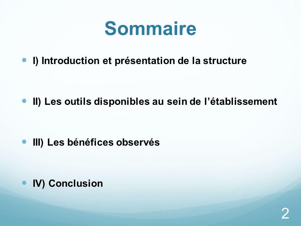 Sommaire I) Introduction et présentation de la structure II) Les outils disponibles au sein de létablissement III) Les bénéfices observés IV) Conclusi