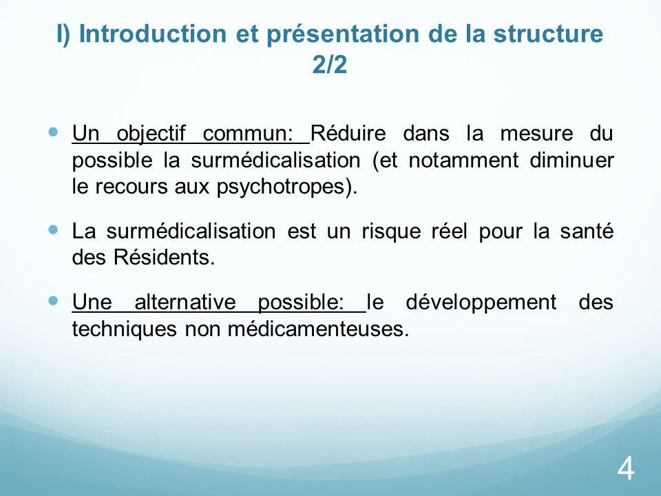 I) Introduction et présentation de la structure 2/2 Un objectif commun: Réduire dans la mesure du possible la surmédicalisation (et notamment diminuer