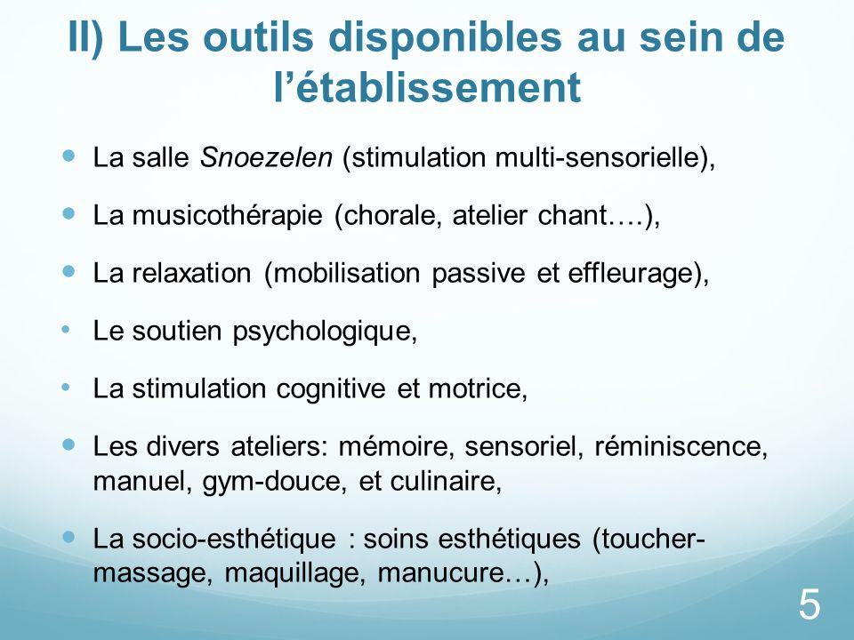 II) Les outils disponibles au sein de létablissement La salle Snoezelen (stimulation multi-sensorielle), La musicothérapie (chorale, atelier chant….),