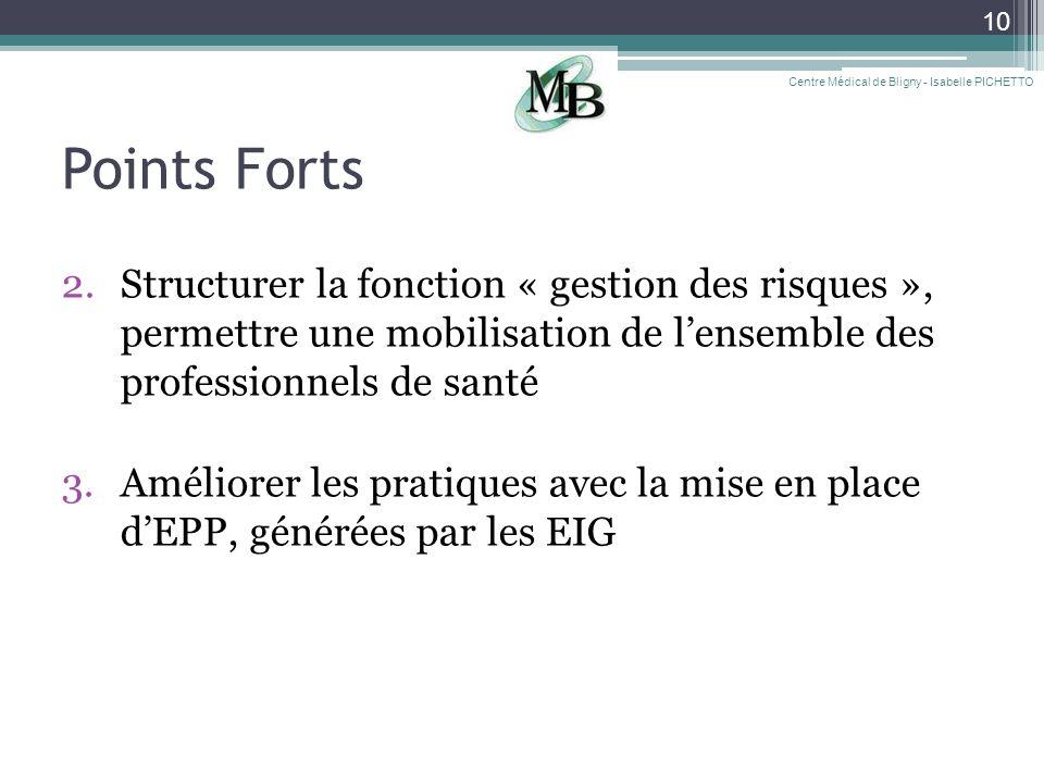 10 Points Forts 2.Structurer la fonction « gestion des risques », permettre une mobilisation de lensemble des professionnels de santé 3.Améliorer les