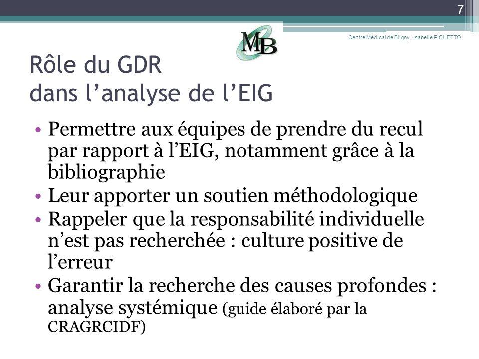 Rôle du GDR dans lanalyse de lEIG Permettre aux équipes de prendre du recul par rapport à lEIG, notamment grâce à la bibliographie Leur apporter un so