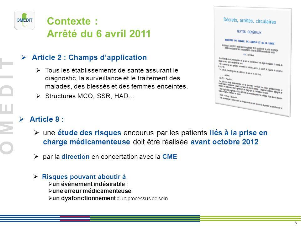 O M E D I T Contexte : Arrêté du 6 avril 2011 Article 8 : une étude des risques encourus par les patients liés à la prise en charge médicamenteuse doi
