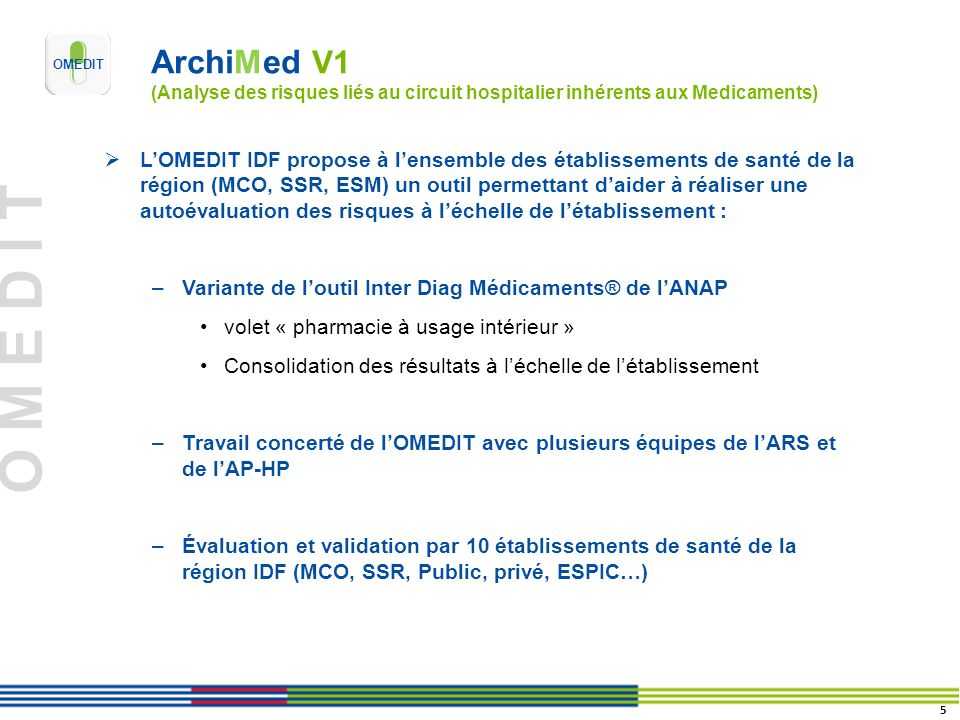 O M E D I T ArchiMed V1 (Analyse des risques liés au circuit hospitalier inhérents aux Medicaments) LOMEDIT IDF propose à lensemble des établissements