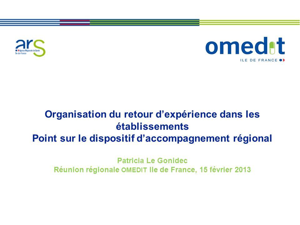 Organisation du retour dexpérience dans les établissements Point sur le dispositif daccompagnement régional Patricia Le Gonidec Réunion régionale OMED