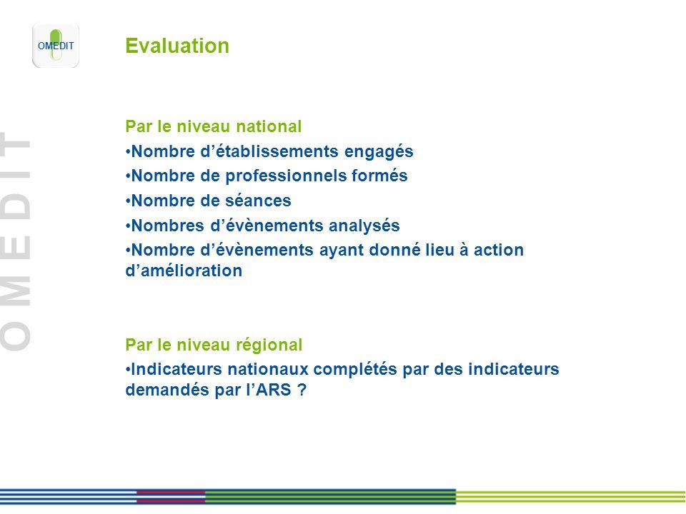 O M E D I T Evaluation Par le niveau national Nombre détablissements engagés Nombre de professionnels formés Nombre de séances Nombres dévènements ana