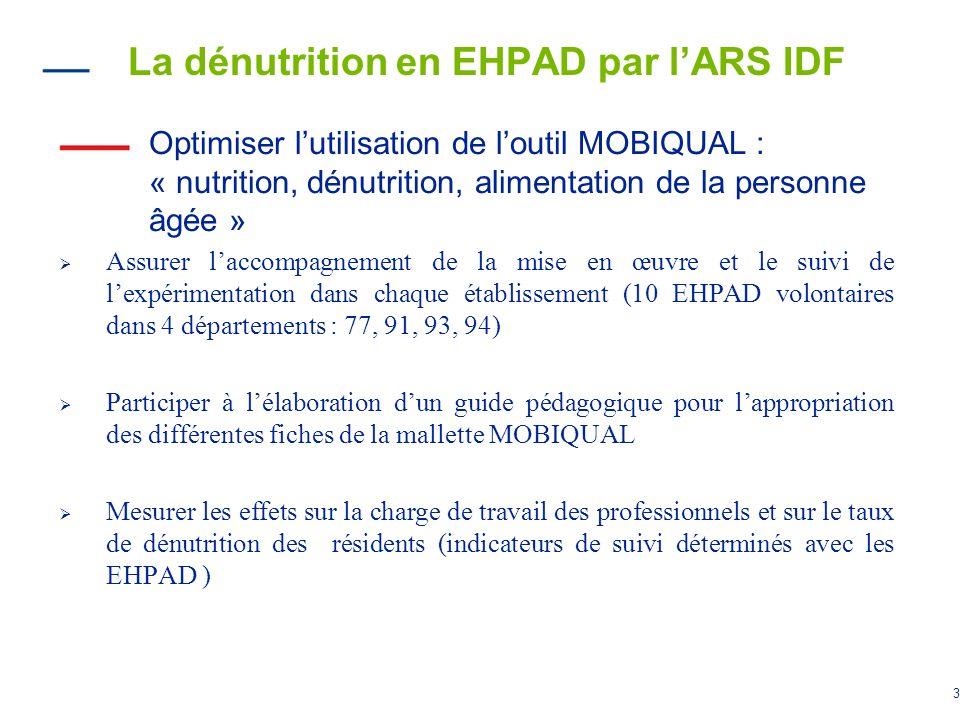 3 La dénutrition en EHPAD par lARS IDF Optimiser lutilisation de loutil MOBIQUAL : « nutrition, dénutrition, alimentation de la personne âgée » Assure
