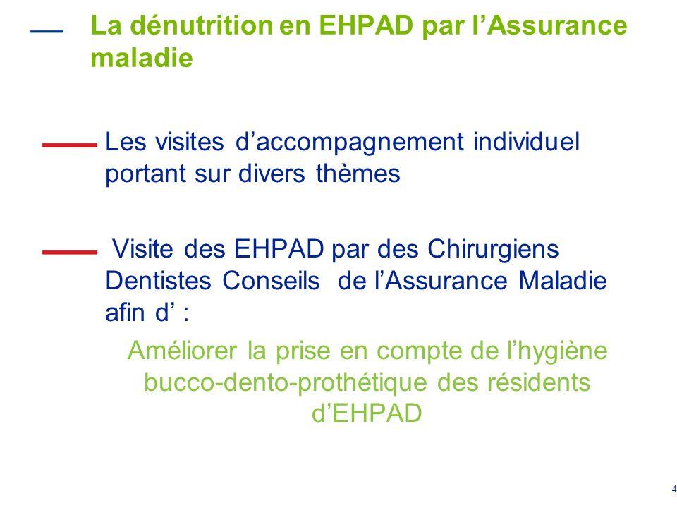 4 La dénutrition en EHPAD par lAssurance maladie Les visites daccompagnement individuel portant sur divers thèmes Visite des EHPAD par des Chirurgiens