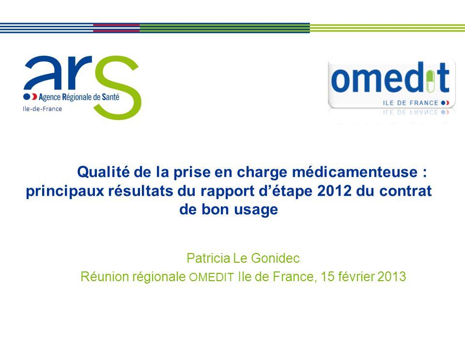 Qualité de la prise en charge médicamenteuse : principaux résultats du rapport détape 2012 du contrat de bon usage Patricia Le Gonidec Réunion régiona