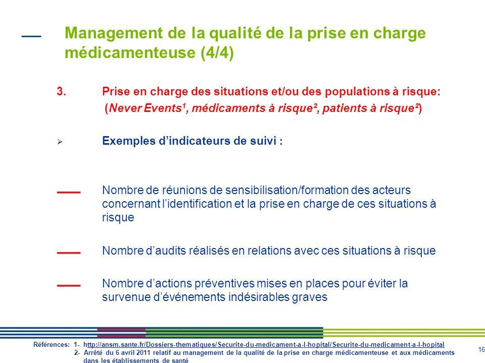 16 Management de la qualité de la prise en charge médicamenteuse (4/4) 3.Prise en charge des situations et/ou des populations à risque: (Never Events