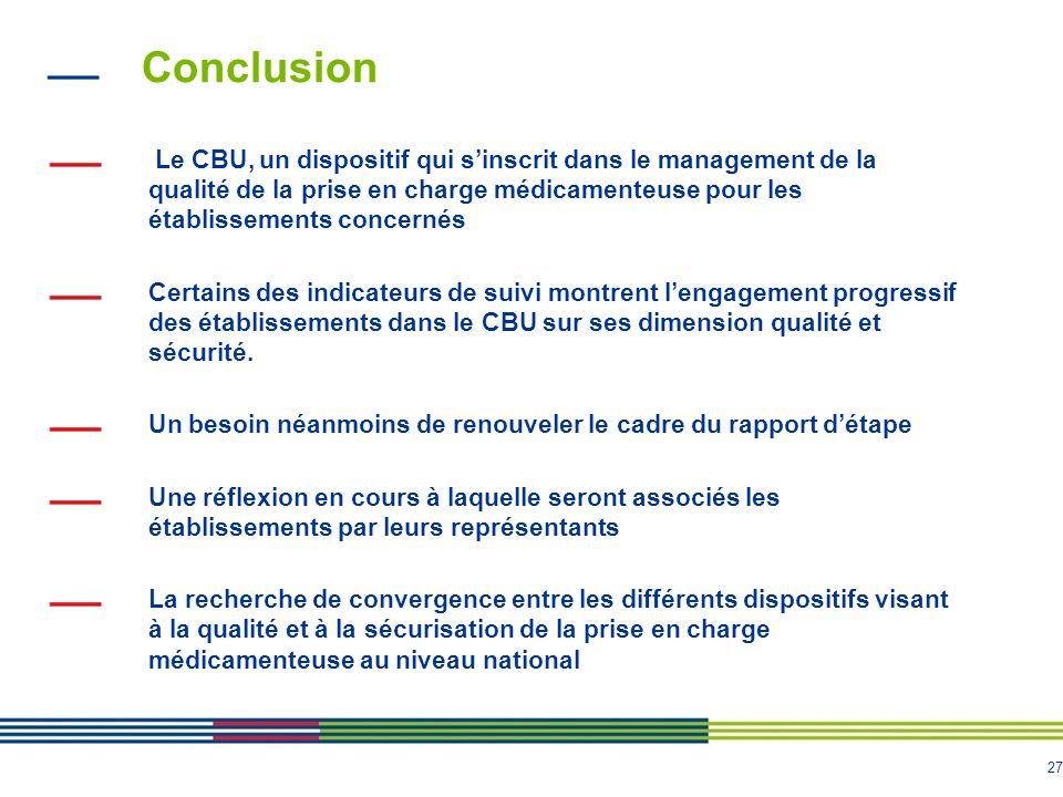 27 Conclusion Le CBU, un dispositif qui sinscrit dans le management de la qualité de la prise en charge médicamenteuse pour les établissements concern