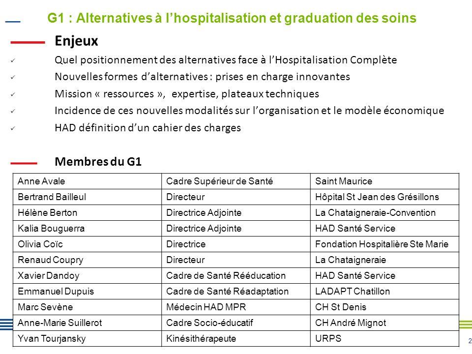 2 G1 : Alternatives à lhospitalisation et graduation des soins Enjeux Quel positionnement des alternatives face à lHospitalisation Complète Nouvelles