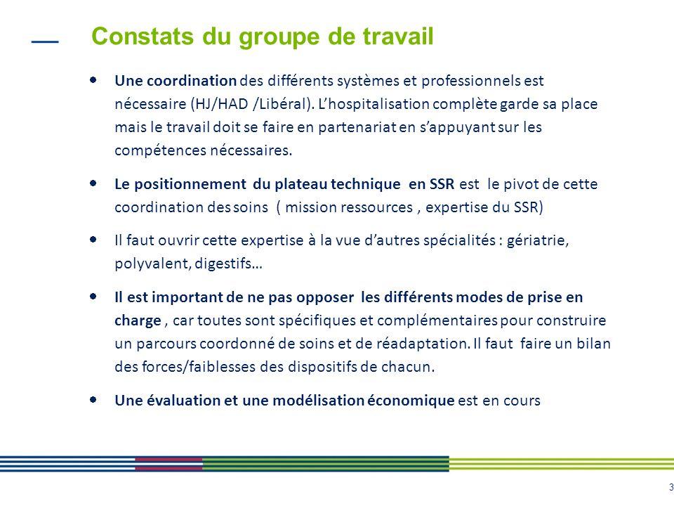 3 Constats du groupe de travail Une coordination des différents systèmes et professionnels est nécessaire (HJ/HAD /Libéral). Lhospitalisation complète