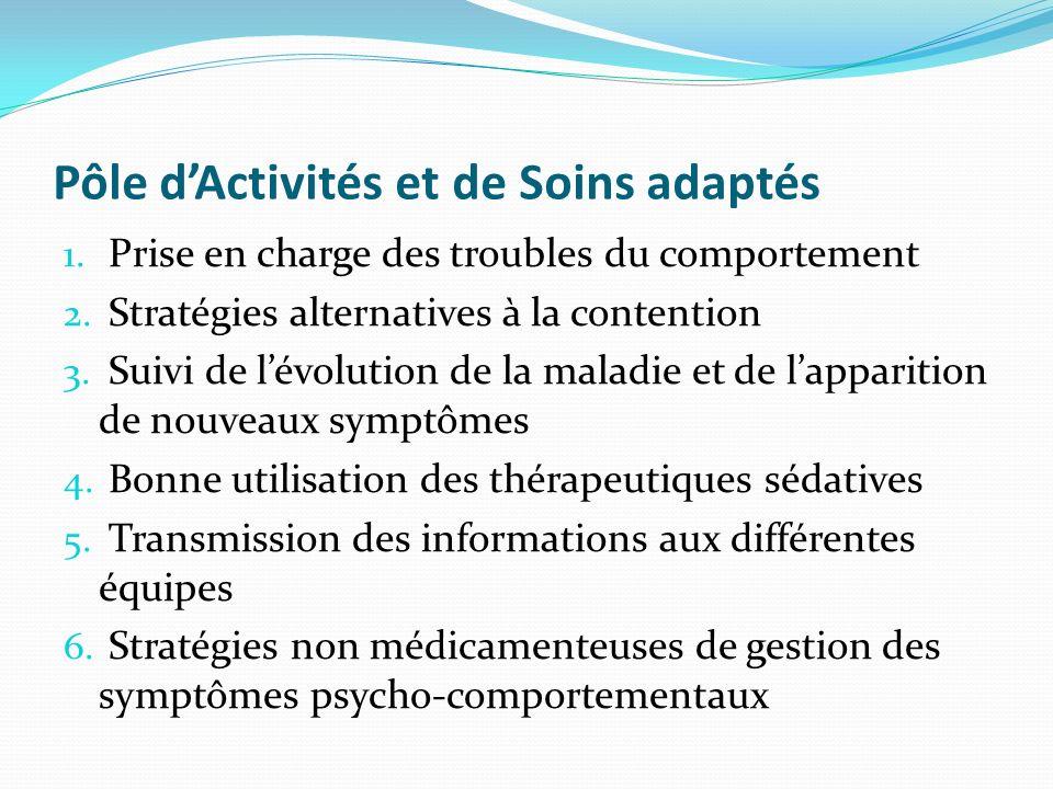 Pôle dActivités et de Soins adaptés 1. Prise en charge des troubles du comportement 2. Stratégies alternatives à la contention 3. Suivi de lévolution